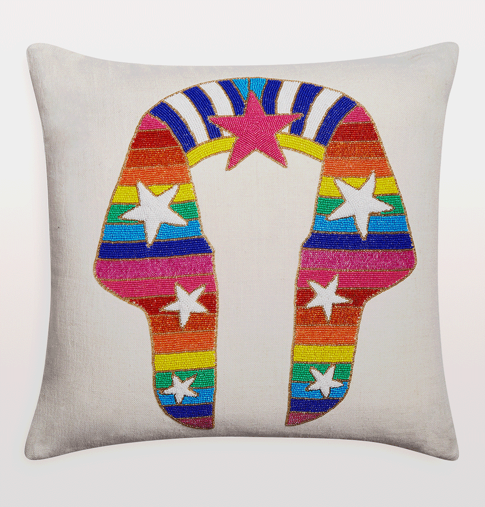 Jonathan Adler Egyptian Sphinx Rainbow beaded cushion