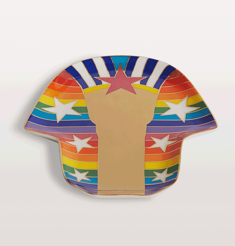 Jonathan Adler Rainbow sphinx tray in gold