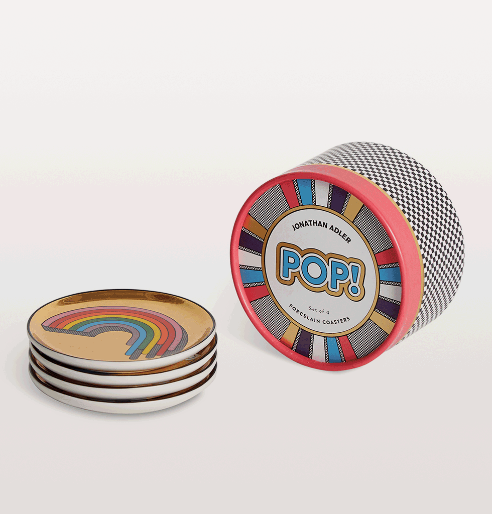 Jonathan Adler Rainbow Pop Gold Coasters Set of four