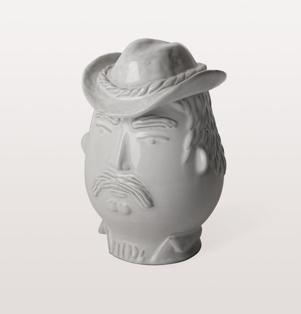 W.A.GREEN | JONATHAN ADLER | Macho Cowboy YMCA Village People inspired white ceramic kitchen jar canister. Jonathan Adler Utopia collection. £118