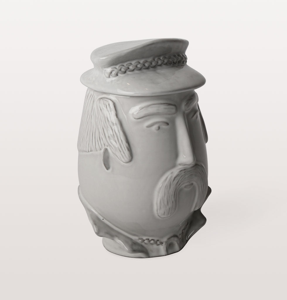 Macho  Biker YMCA Village People inspired white ceramic kitchen jar canister. Jonathan Adler Utopia collection