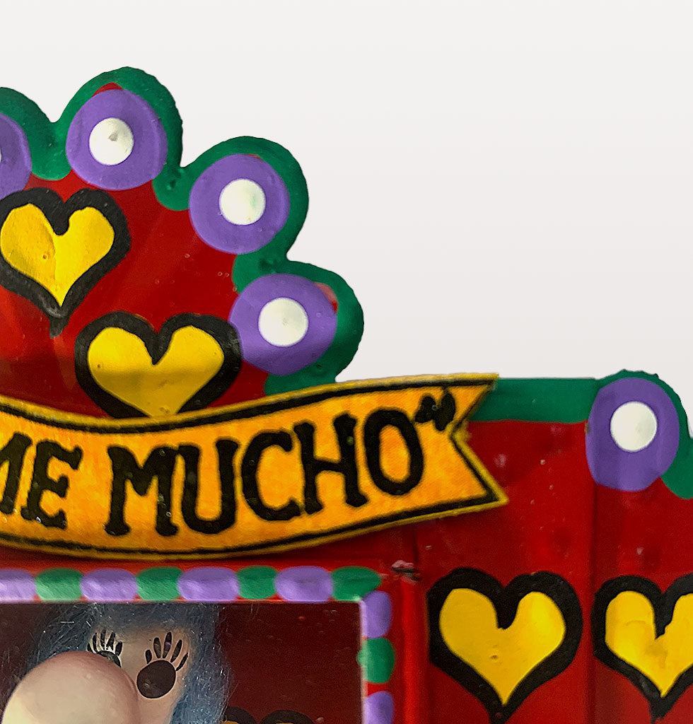 MILAGROS | Beśame Mucho - Kiss me now, kiss me with passion!   Unique Mexican hand crafted decorative tin nicho box depicting a gloriously seductive Day of the Dead skeleton kissing couple.   Mexican traditional tin crafted shadow box wall decoration. Small red nicho box decorated with yellow love hearts featuring two characters kissing - what's not to love. £46 wagreen.co.uk