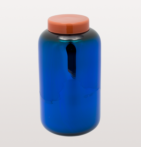 TALL COBALT BLUE GLASS CONTAINER VASE WITH APRICOT LID