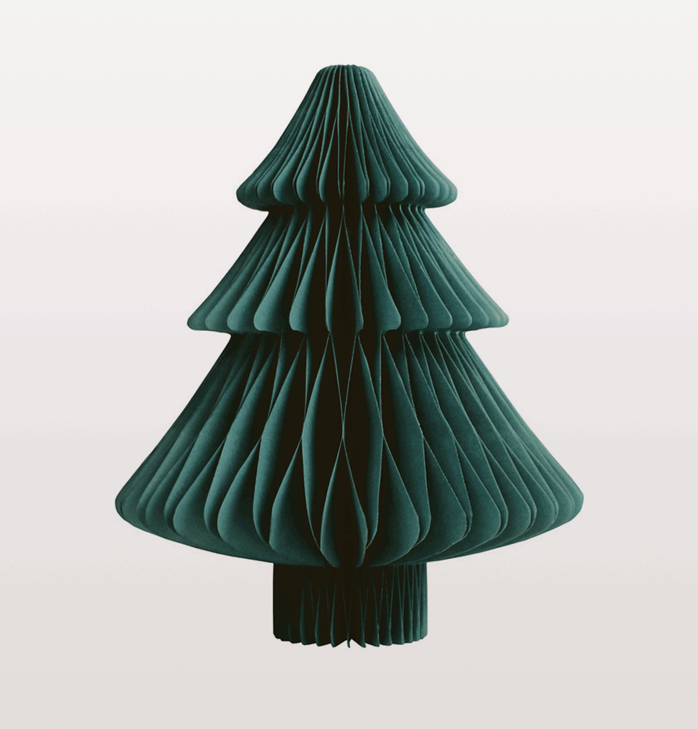 Small green paper Christmas Tree decoration for table or mantlepiece