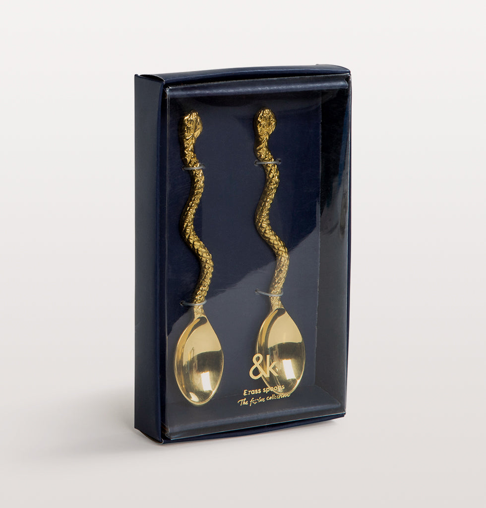 W.A.GREEN | &K | Gold snake teaspoons. Snake shaped gold spoon set perfect for cake, desert or coffee. £25 wagreen.co.uk