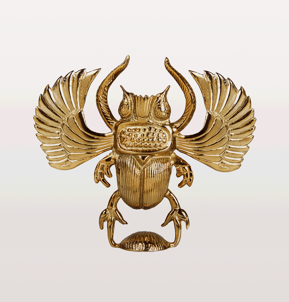 SCARAB BEETLE BRASS CANDLE HOLDER LARGE