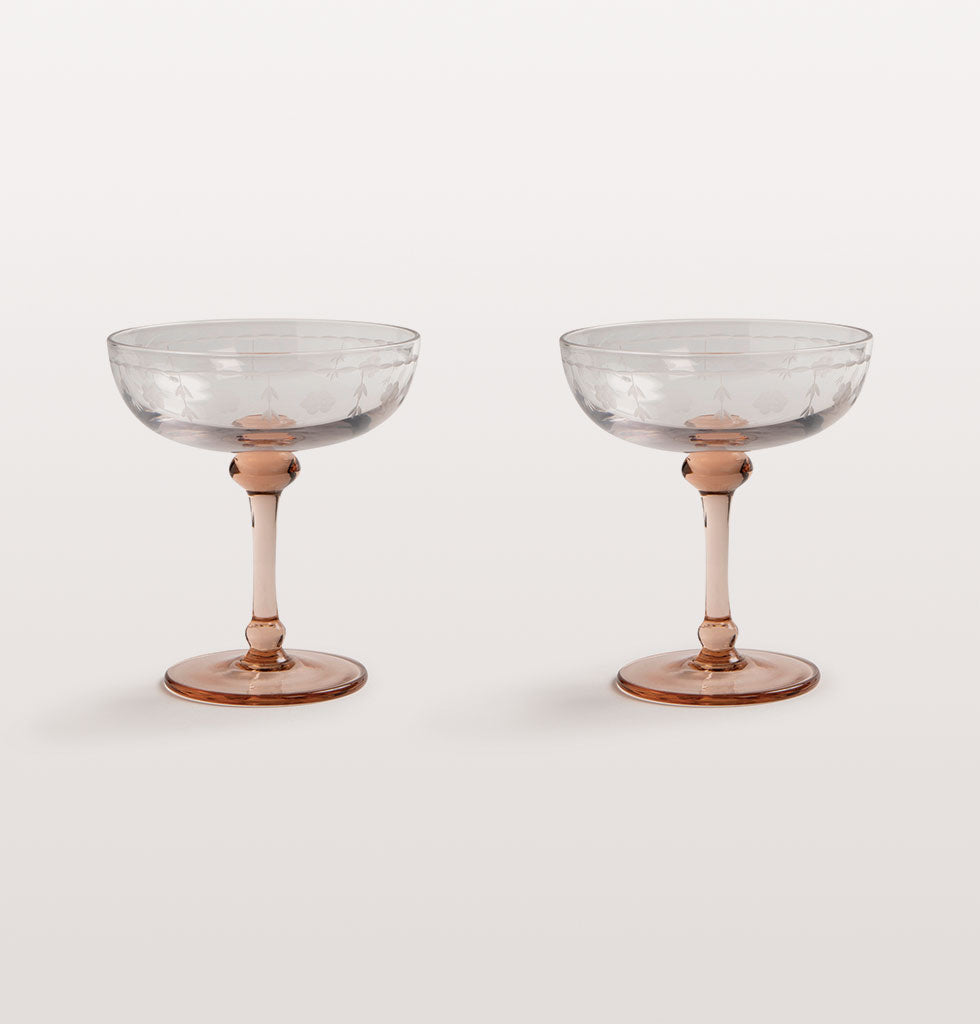 W A Green Pink Stem Champagne Coupe Set W A Green