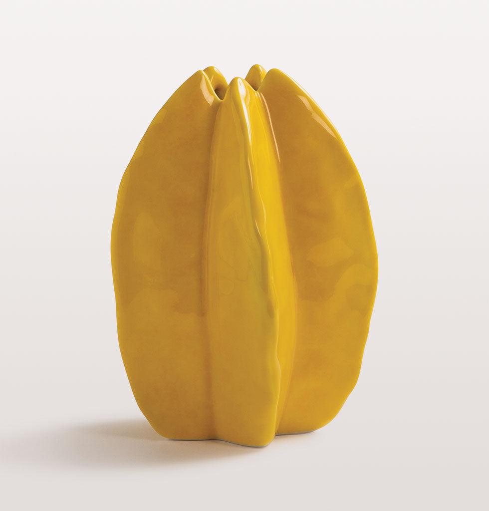 "Meet the star of your tablesetting! This exotic star fruit shaped yellow glazed stoneware vase has more happy vitamins than any of your five a day!  Hand made and hand glazed, this starfruit shaped stem flower vase would make a unique gift for you or your bestie.   W.A.Green says, ""Yellow is an instant mood buster and this little vase looks cute without flowers""."