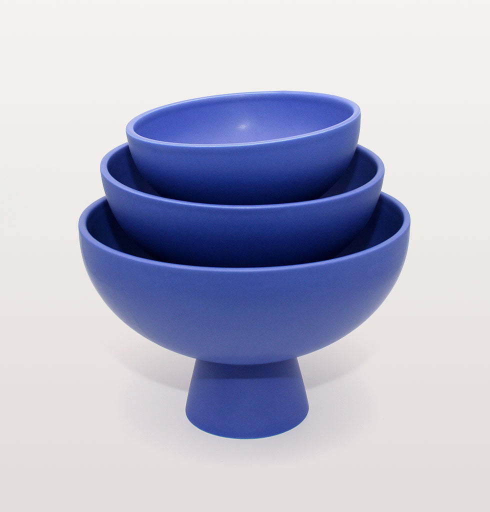 Stack of Strom bowls in horizon blue. Designed by raawii. Available wagreen.co.uk