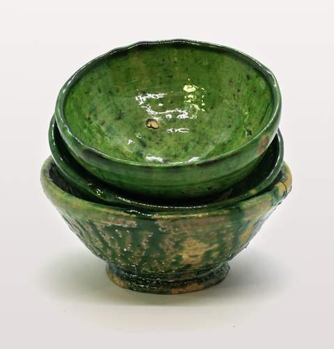 SET OF 3 MINI MOROCCAN GREEN MEZE BOWLS