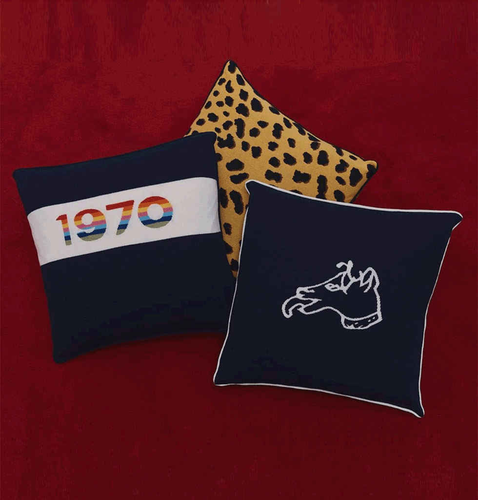 Bella Freud Lifestyle cushions 1970, dog motif and leopard print iggy wool