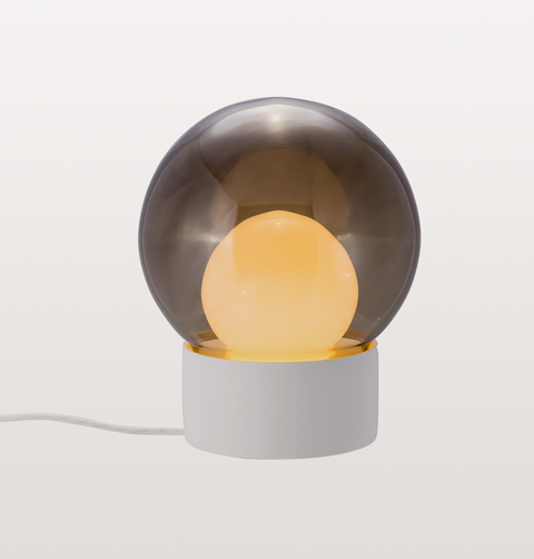 BOULE SMALL SMOKE GREY AND OPAL WHITE TABLE LIGHT