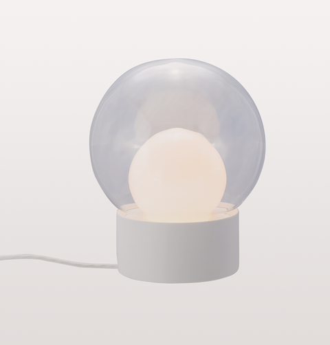 BOULE SMALL CLEAR AND OPAL WHITE TABLE LIGHT