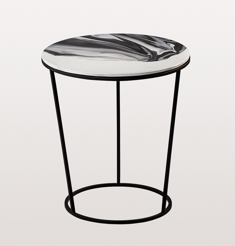 CHIARA SMALL WHITE AND BLACK SIDE TABLE