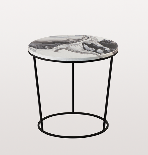 CHAIRA LARGE WHITE AND BLACK CERAMIC SIDE TABLE by PULPO