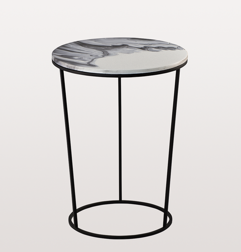CHIARA HIGH WHITE AND BLACK CERAMIC SIDE TABLE by PULPO