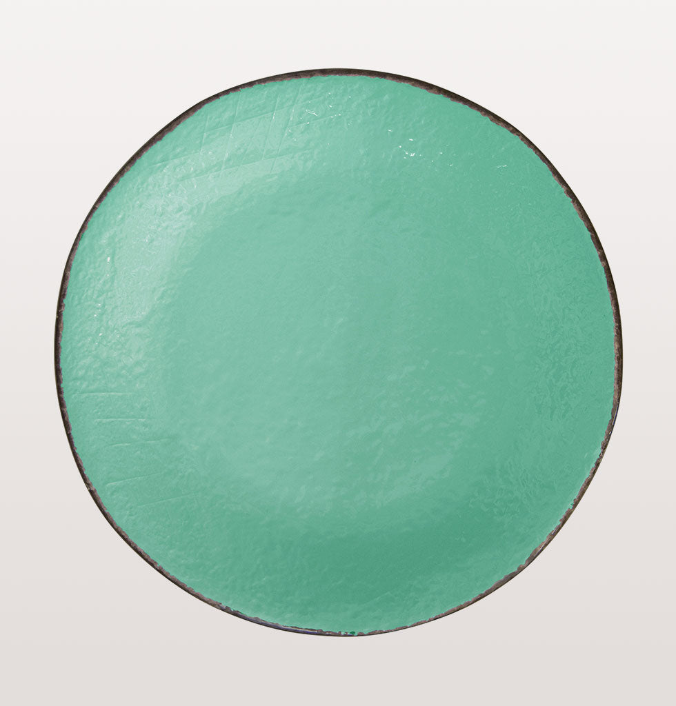 W.A.GREEN | AQUAMARINE TURQUOISE MAJOLICA TABLEWARE SET | ROUND PLATTER