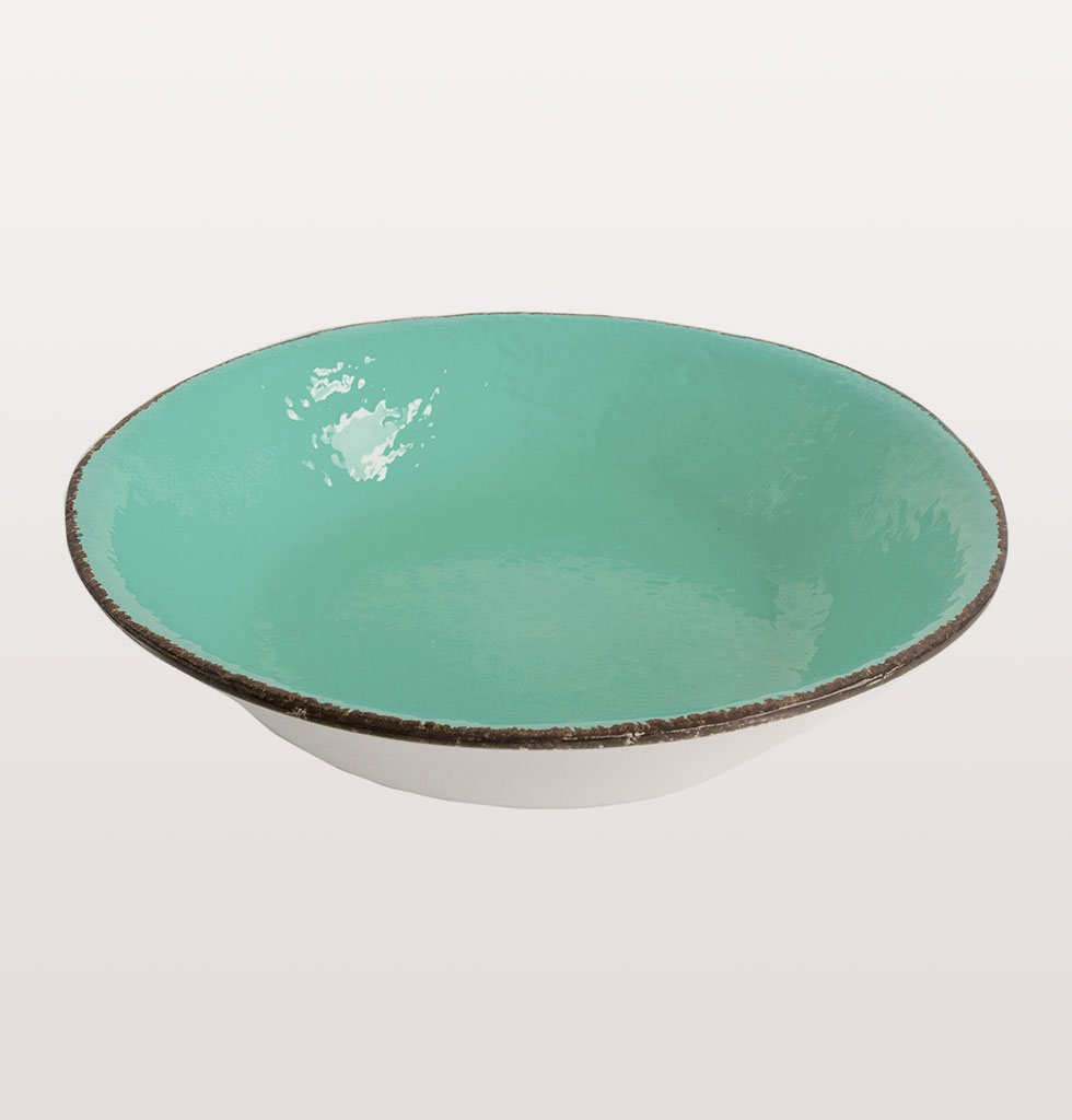W.A.GREEN | AQUAMARINE TURQUOISE GREEN MAJOLICA TABLEWARE SET | PRETA PASTA BOWL