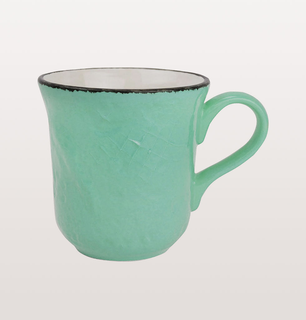 W.A.GREEN | GREEN BRIGHT PRETA MAJOLICA TABLEWARE SET | PERFECT MUG. £12 wagreen.co.uk