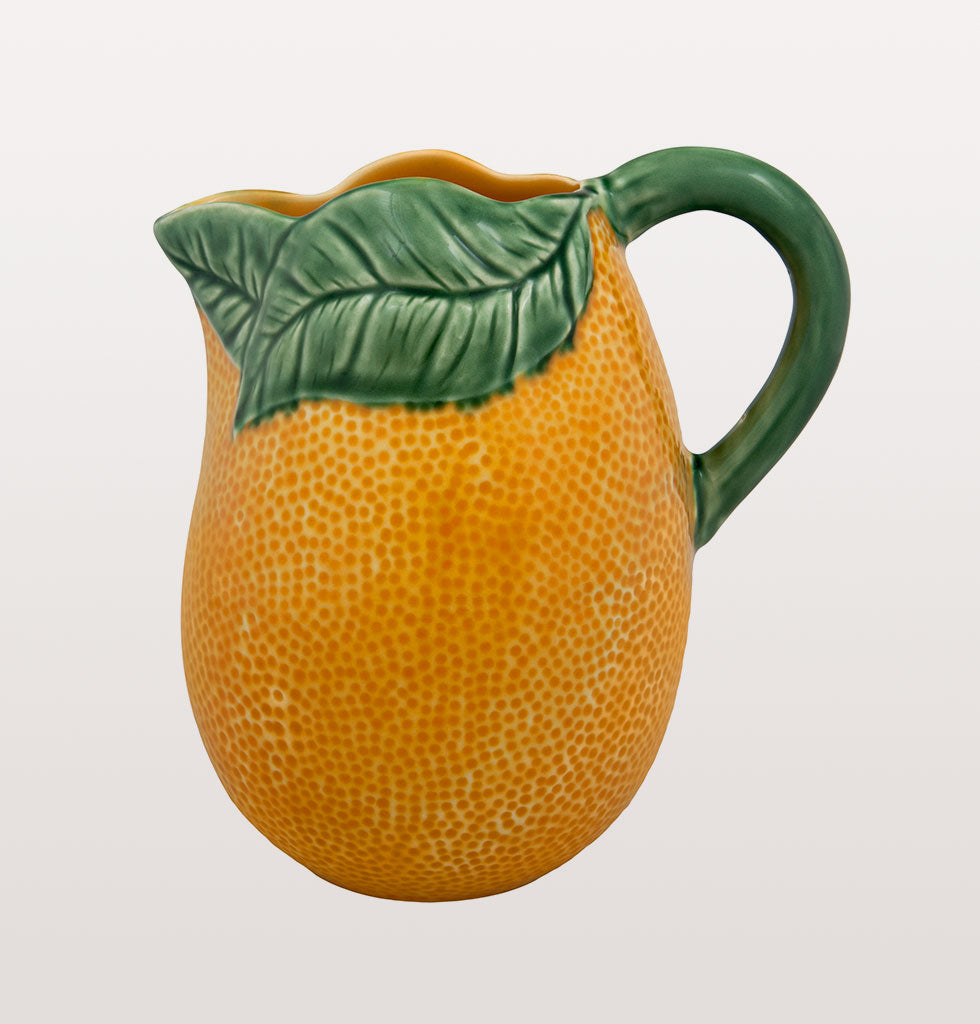 Orange pitcher jug by Bordallo Pinheiro. £80 1.5L capacity. Green and Orange Tableware. wagreen.co.uk