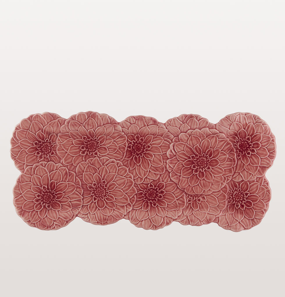 Maria Flor Pink Dahlia Flower Tart Tray. Pink ceramic flower platter by Bordallo Pinheiro. £66 wagreen.co.uk