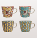 RETRO FLOWER TEA CUPS BLUE