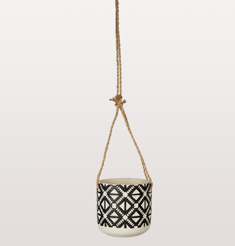 RETRO BLACK AND WHITE PATTERNED HANGING PLANT POT