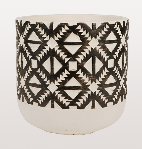 RETRO LARGE BLACK AND WHITE PATTERNED PLANT POT