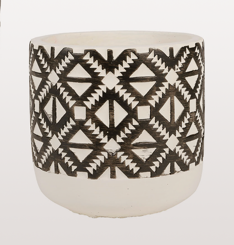 RETRO SMALL BLACK AND WHITE PATTERNED PLANT POT