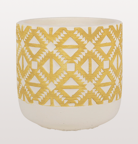 RETRO SMALL MUSTARD YELLOW PATTERNED PLANT POT