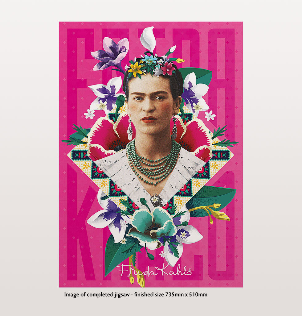 Frida Kahlo contemporary 1000 piece jigsaw puzzle. Frida with tropical flowers on a bright pink background