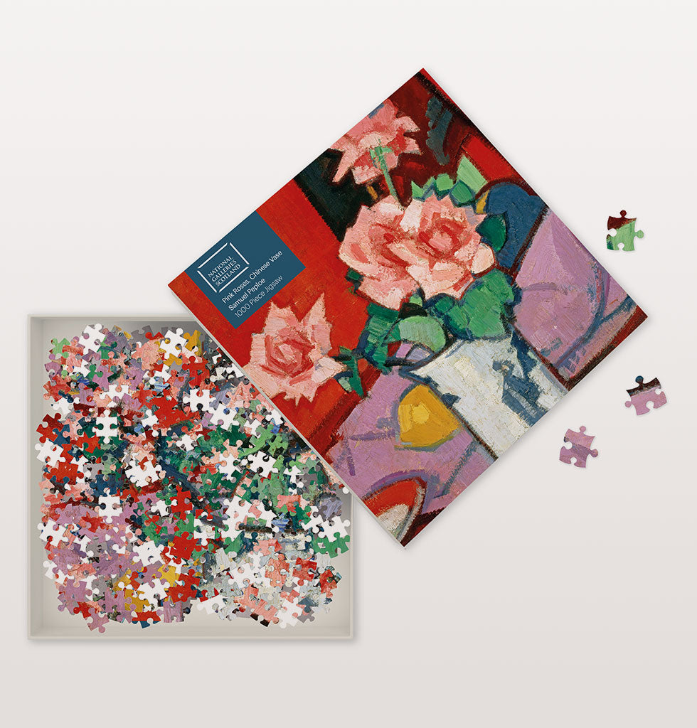 PINK ROSES, CHINESE VASE 1000 PIECE JIGSAW