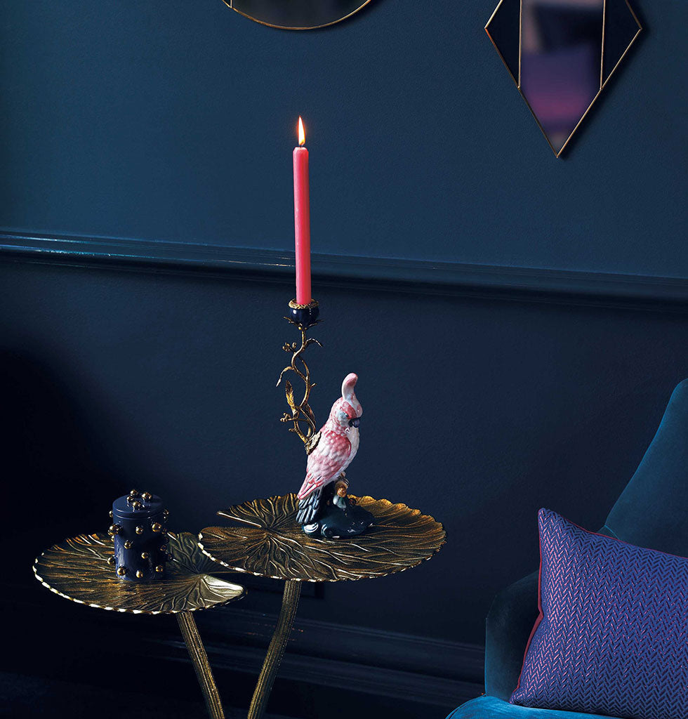 Watch the birdie! This cockatoo candle holder screams of vintage kitsch and will make your mantle the talking point of your colourful home.  The bird's bright white and pink plumage stands out elegantly atop it's teal blue base. The scale of this bird shaped porcelain candle holder is made all the more dramatic with it's intricate leafy stem of brass holding the ceramic cup for a single dinner candle.