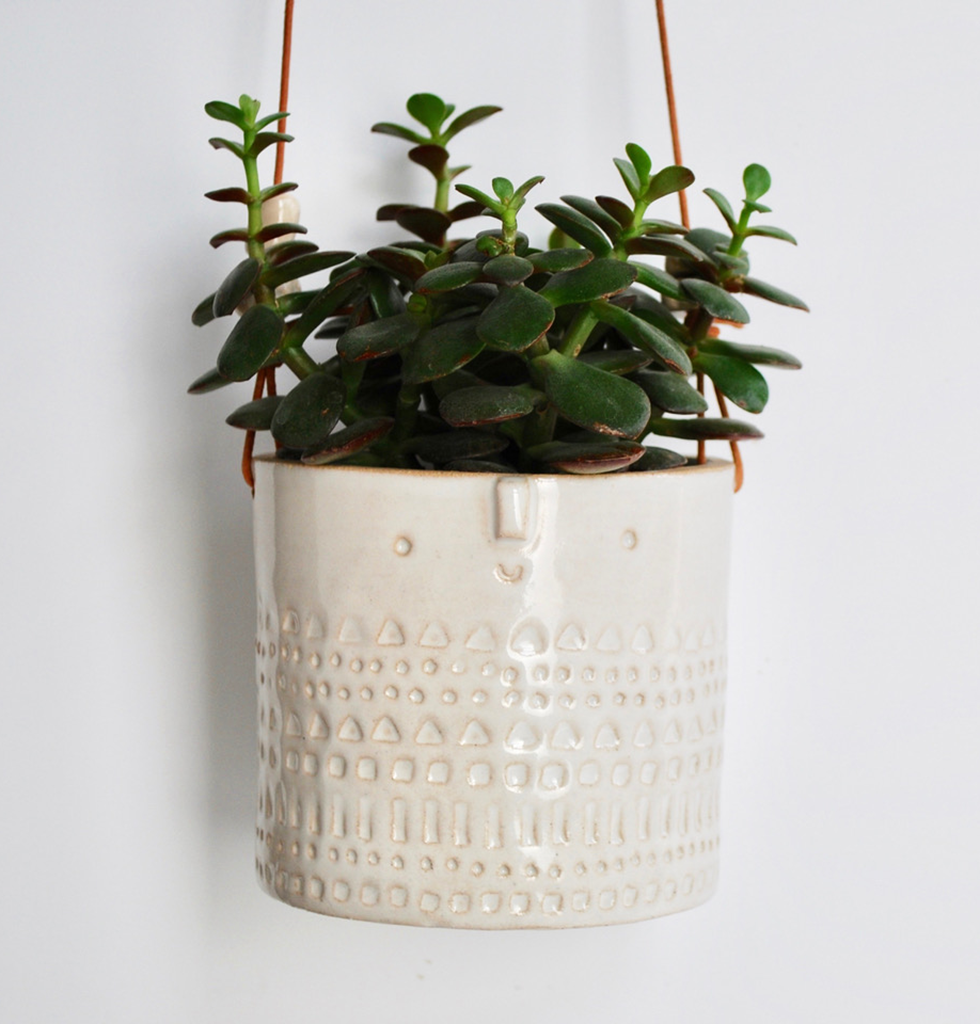 WHITE CERAMIC HANGING PLANTER