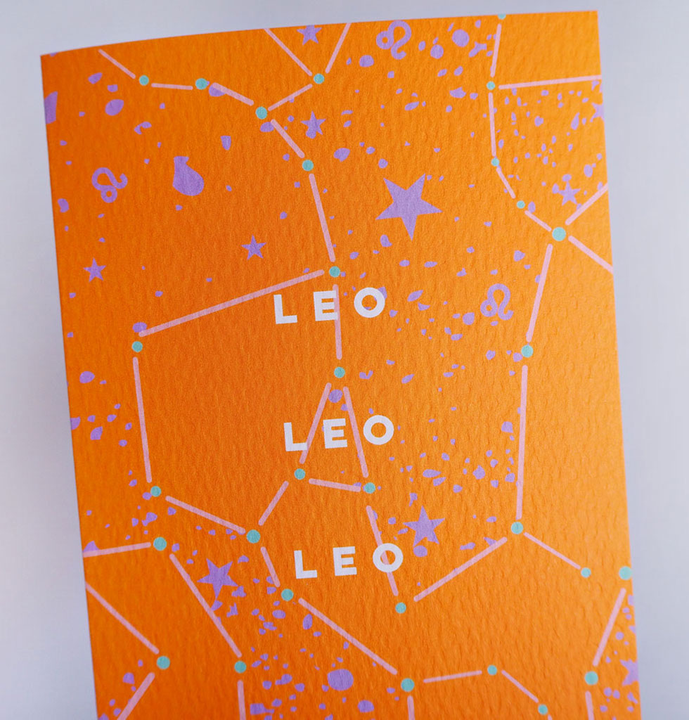 The Completist star sign cards. Leo. Single card £3.50. wagreen.co.uk