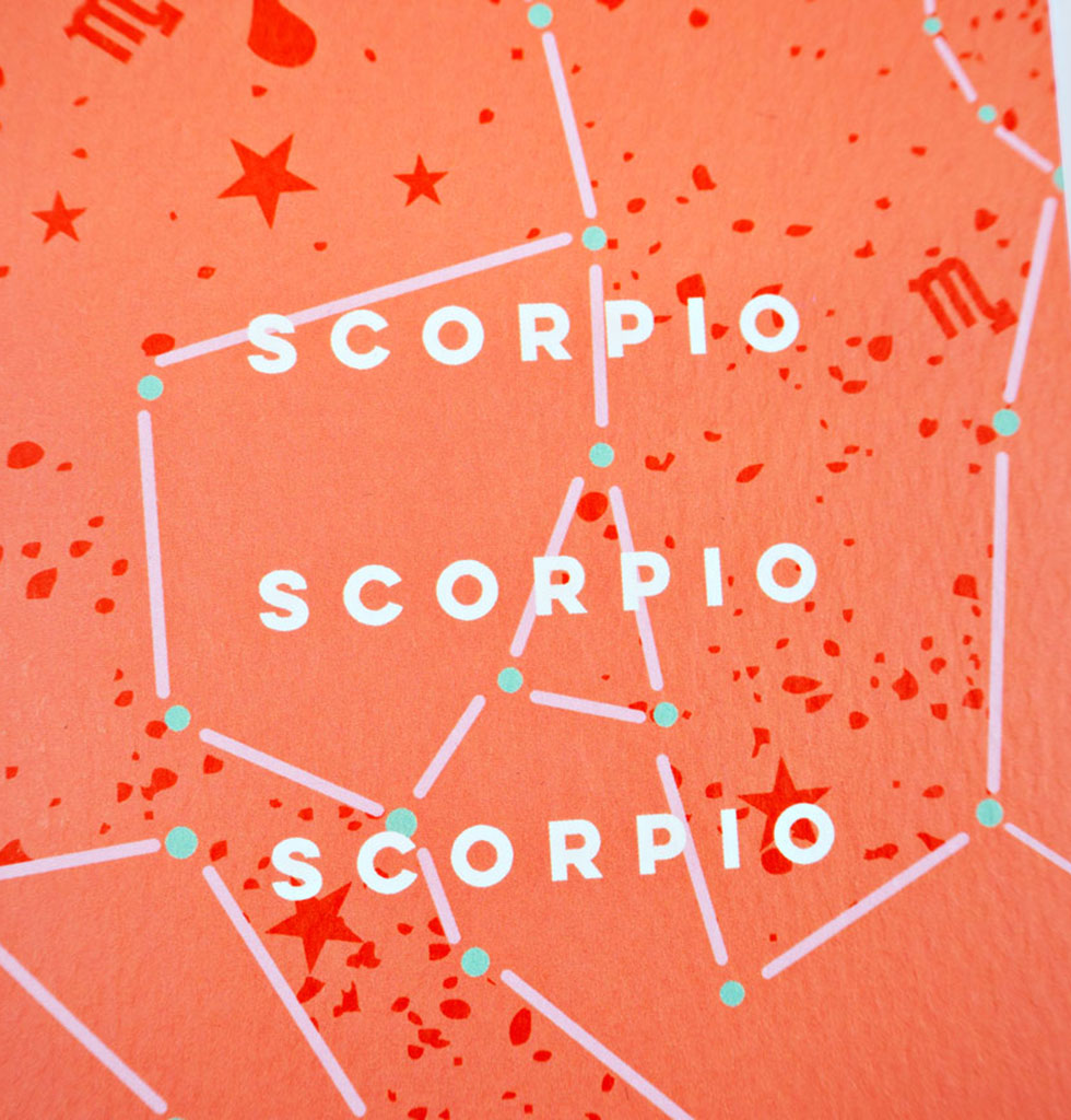 The Completist star sign cards. Scorpio. Single card £3.50. wagreen.co.uk