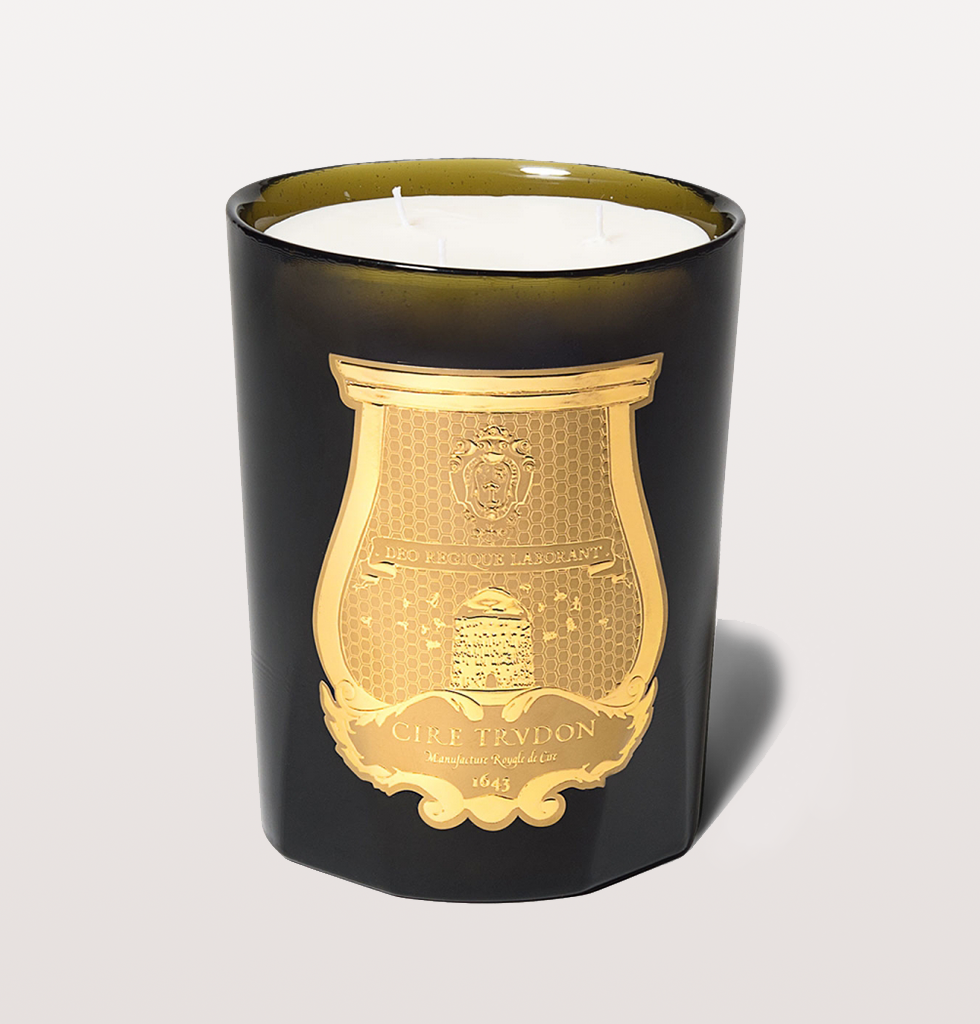 Luxury candle, three wicks with hints of spearmint, apple, ginger, jasmine, clove, vanilla. Champagne bottle glass.