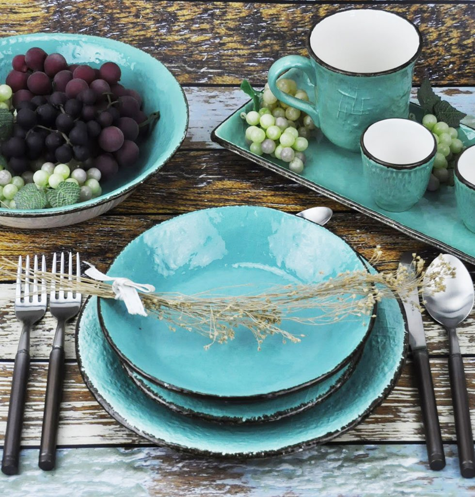 W.A.GREEN | TURQUOISE GREEN AQUA MARINE  MAJOLICA TABLEWARE SET | SERVING BOWLS