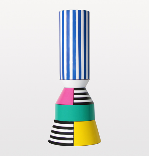 BYFLY, Acrobat vase. Multi coloured Memphis inspired Portuguese ceramics. Statement bold colours, striped  and two tiered, decorative vase for maximalist homeware.