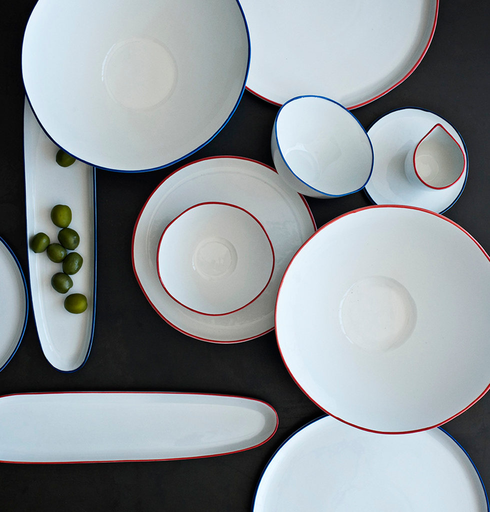 Selection of abbesses dinner service with red line yellow line blue line green line from Canvas Home