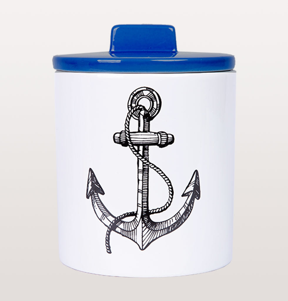 Anchor storage jar. Blue lid with black and white tattoo inspired design. £32