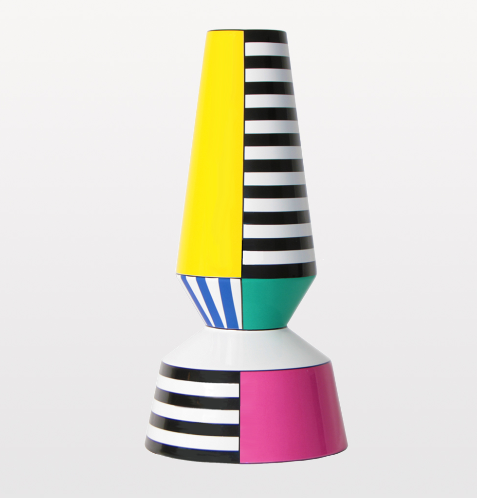 BYFLY, Arlequim vase. Multi coloured Memphis inspired Portuguese ceramics. Statement bold colours, striped  and two tiered, decorative vase for maximalist homeware.