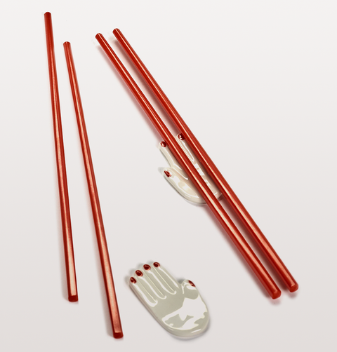 SUSHI SET NOMADE RED CHOPSTICKS w HAND SHAPED RESTS BY SERAX