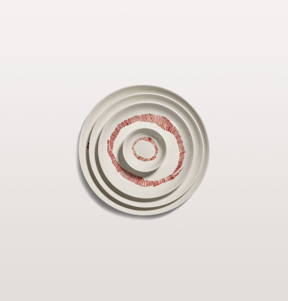 Ottolenghi x Serax. White and Swirl Stripes Red extra small dish, small plate, small plate and medium plate. wagreen.co.uk