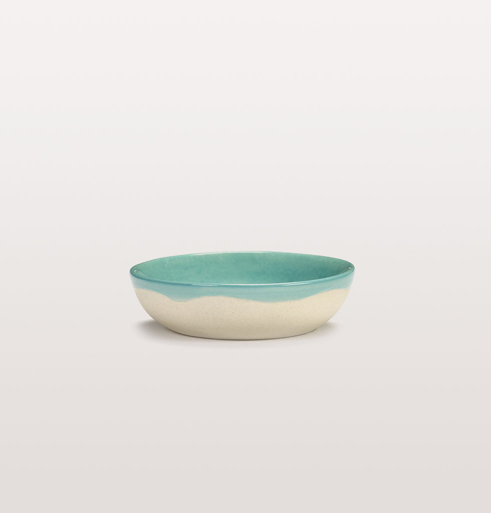 Ottolenghi x Serax. Azure and Broccoli Green extra small dish side view. £7 wagreen.co.uk