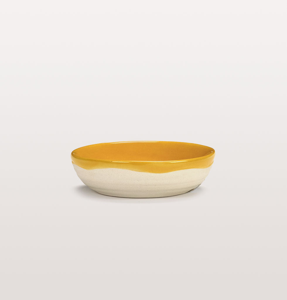 Ottolenghi x Serax. Sunny Yellow extra small dish side view. £7 wagreen.co.uk