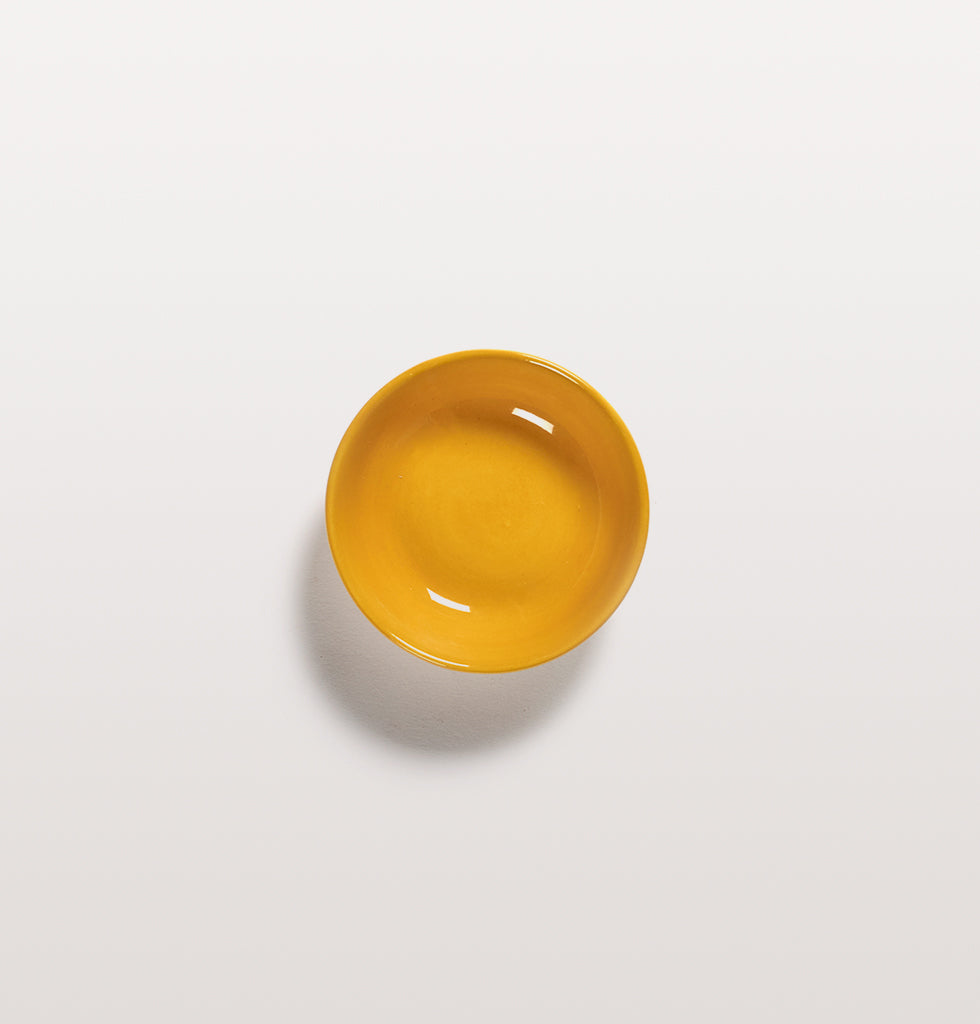 Ottolenghi x Serax. Sunny Yellow extra small dish top view. £7 wagreen.co.uk