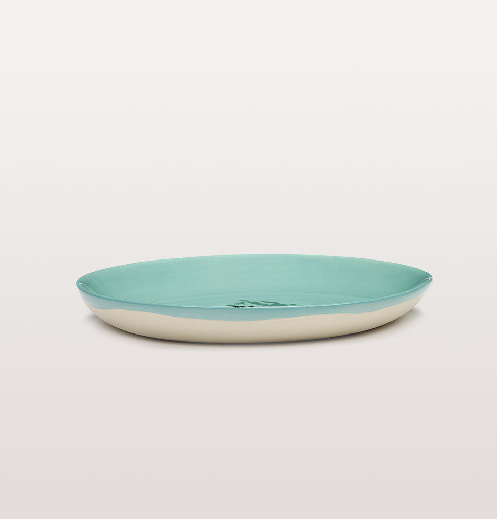 Ottolenghi x Serax. Azure and Artichoke Green extra small plate side view. £16 wagreen.co.uk