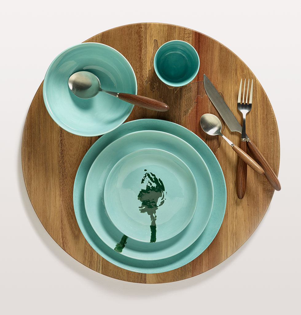 Ottolenghi x Serax. Azure and Artichoke Green extra small dish, medium and high plate. Aquamarine bowl and cup with Feast cutlery and wooden tray. wagreen.co.uk