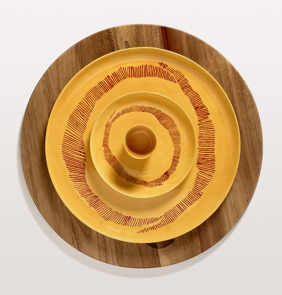 Ottolenghi x Serax. Sunny Yellow and Swirl Stripes Red small and serving plate with yellow cup and wooden tray. wagreen.co.uk